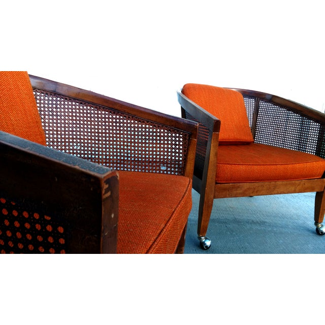 Image of Mid-Century Cane & Orange Club Chairs - A Pair