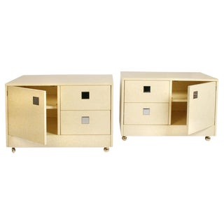 Directional Parchment Night Stands on Casters - a Pair