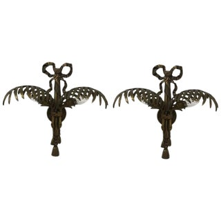Hollywood Regency Brass Wall Sconces - A Pair