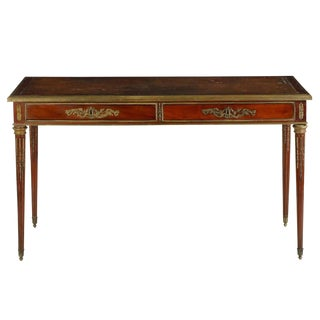 19th Century French Louis XVI Style Mahogany and Bronze Leather Writing Desk
