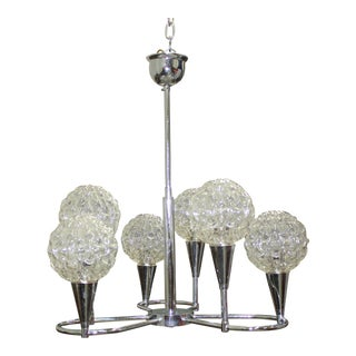 Circa 1960s French Mid Century Six Light Chrome Chandelier