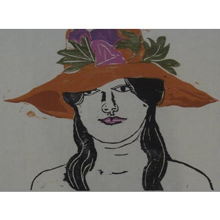 """Orange Hat"" 1965 Color Woodblock Print By William Wolff"