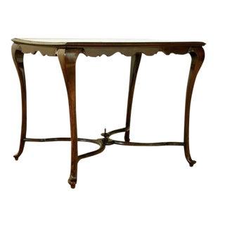 18th Century Italian Rococo Walnut & Knot Veneer Center Table