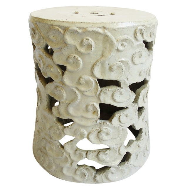 Image of White Ceramic Cloud Garden Stool