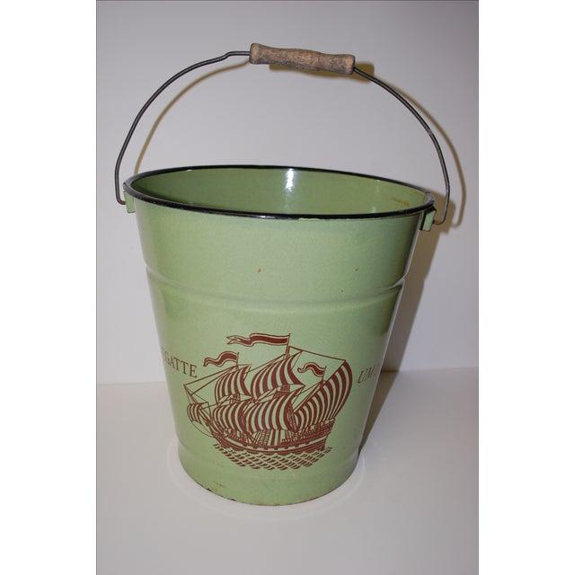 Image of Antique European Enamel Bucket