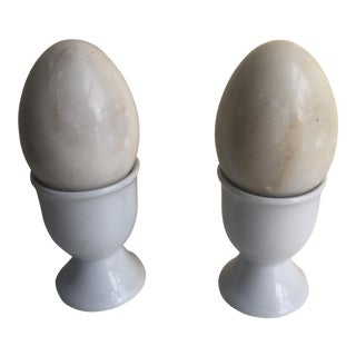Marble Eggs in Egg Cups - A Pair