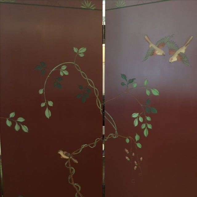 Image of Signed Maitland Smith Four-Panel Asian Themed Wood and Brass Screen