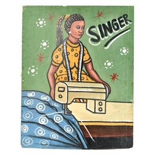 African Folk Art Singer Sign