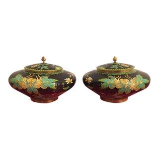 Vintage Cloisonné Lidded Jars - a Pair