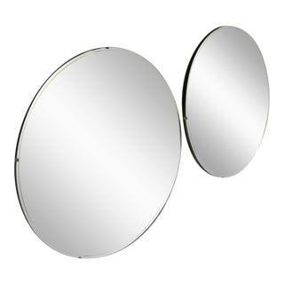 1950s Mid-Century Black Wood Beveled Mirrors - A Pair