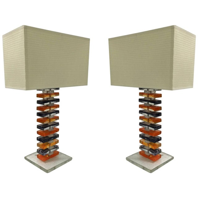 Murano Geometric Table Lamps - Pair - Image 1 of 6