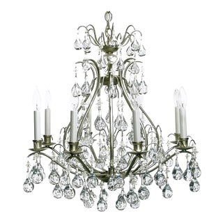 Brushed Nickel and Raindrop Bubble Crystals Eight-Arm Chandelier