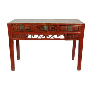 Antique Red Carved Floral Desk