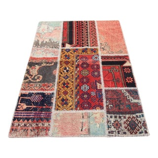 Turkish Vintage Patchwork Oushak Rug - 3′4″ × 4′11″