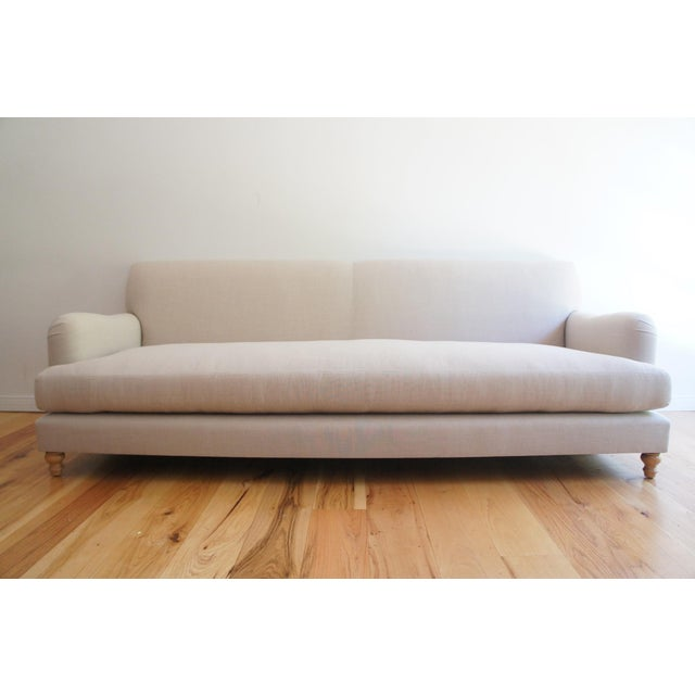 Image of Custom Roll Arm Sofa With Modern Lines