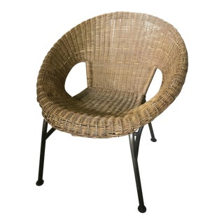 Mid-Century Wicker Chair with Wrought Iron Legs