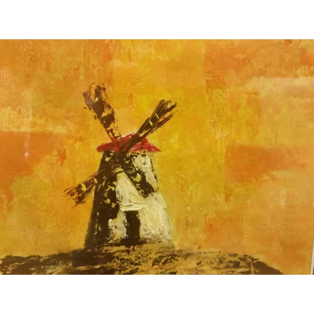 Mid-Century Don Quixote & Windmill Oil Painting - Image 5 of 7