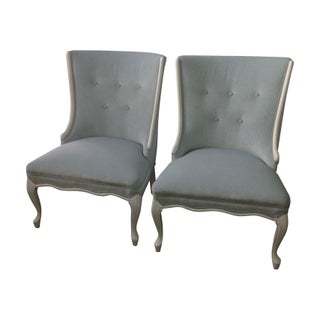 1940's Side Chairs in White & Aqua