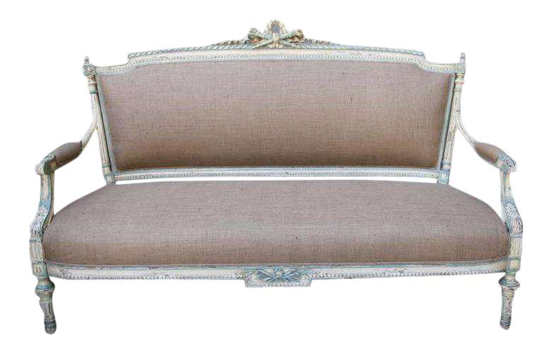 19th c painted french settee