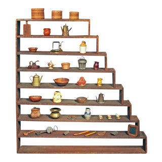 Graduated Shelf with Collection of Miniatures