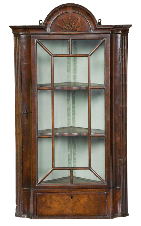 mahogany queen anne corner cabinet with star