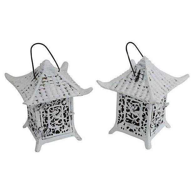 Image of 1960s Cast Iron Pagoda Lanterns - A Pair
