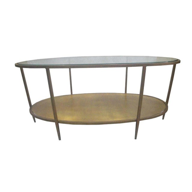 Metal Oval Hammered Coffee Table With Glass Top Chairish