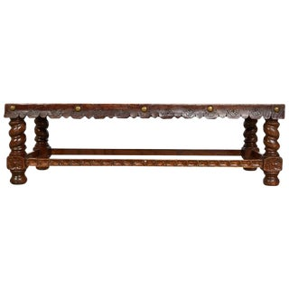 Spanish Baroque Tooled Leather Bench