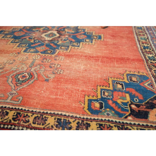 "Antique Afshar Distressed Rug- 4'5"" x 5'11"" - Image 7 of 7"