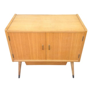 1950s Wood & Brass Record Cabinet