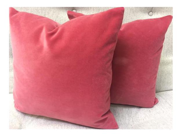 Blush Velvet Pillows   A Pair