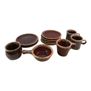 Brown Drip Glaze Pottery Ceramic Tableware - Set of 13