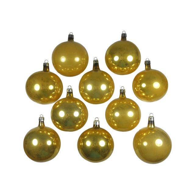 Polish Gold Glass Ornaments - Set of 10 - Image 1 of 3