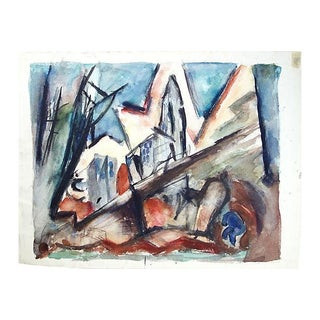 Abstract Painting with Buildings