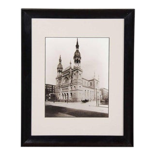"""Vintage Black and White Photograph of """"Temple Emanu-El""""in New York City"""