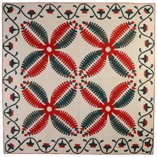 Princess Feather Variation Quilt: Circa 1870