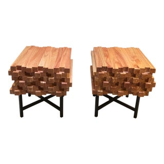 Stacked Wood & Metal End Tables - A Pair