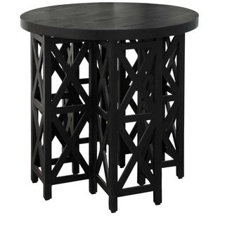 Black Wood Round Side Table