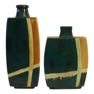 Contemporary Dark Teal Vases - a Pair