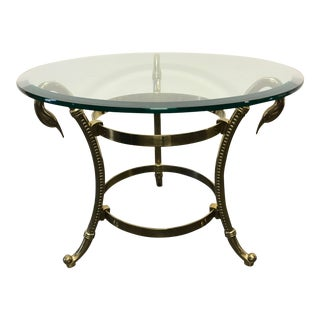 Glass & Brass Swan Round Side / End / Cocktail Table