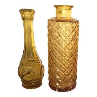 Vintage Amber Glass Vases - A Pair