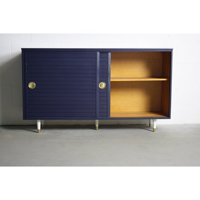 1960's Navy Cabinet W/ White & Gold Tapered Legs - Image 9 of 11