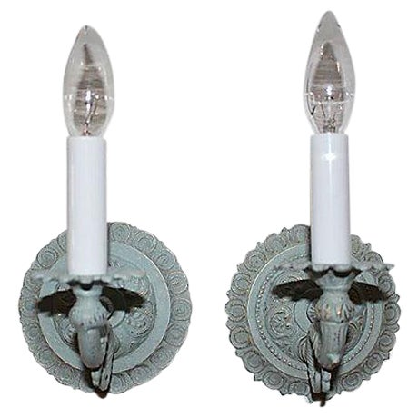 Image of Painted-Brass Sconces - Pair