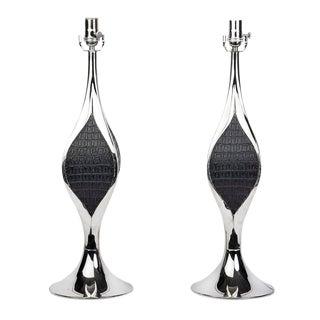 Laurel Mid-Century Modernist Sculptural Chrome Table Lamps - A Pair