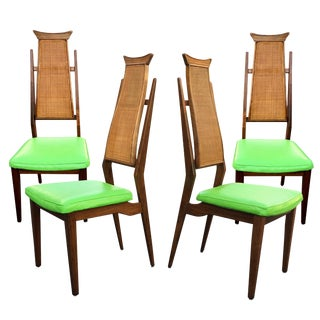 Mid-Century Walnut Highback Dining Chairs - Set of 4