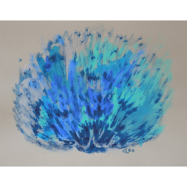"""""""Blue Sea Shell"""" Abstract Painting by Cleo - Image 2 of 2"""