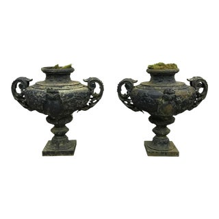 19th Century French Blue Painted Urns - a Pair
