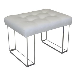 Infinity Style Oatmeal Linen & Lucite Bench