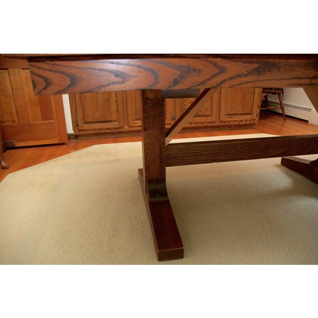 Oak Parquet Extendable Vintage Dining Table - Image 6 of 8