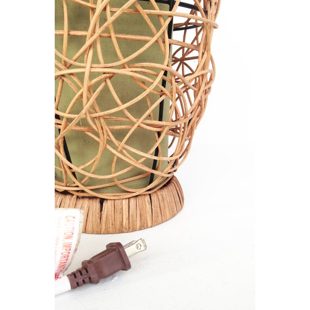 Image of Midcentury Rattan Beehive Table Lamp